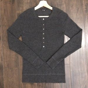 Theory Button 3/4 Slim-fit Wool sweater Top